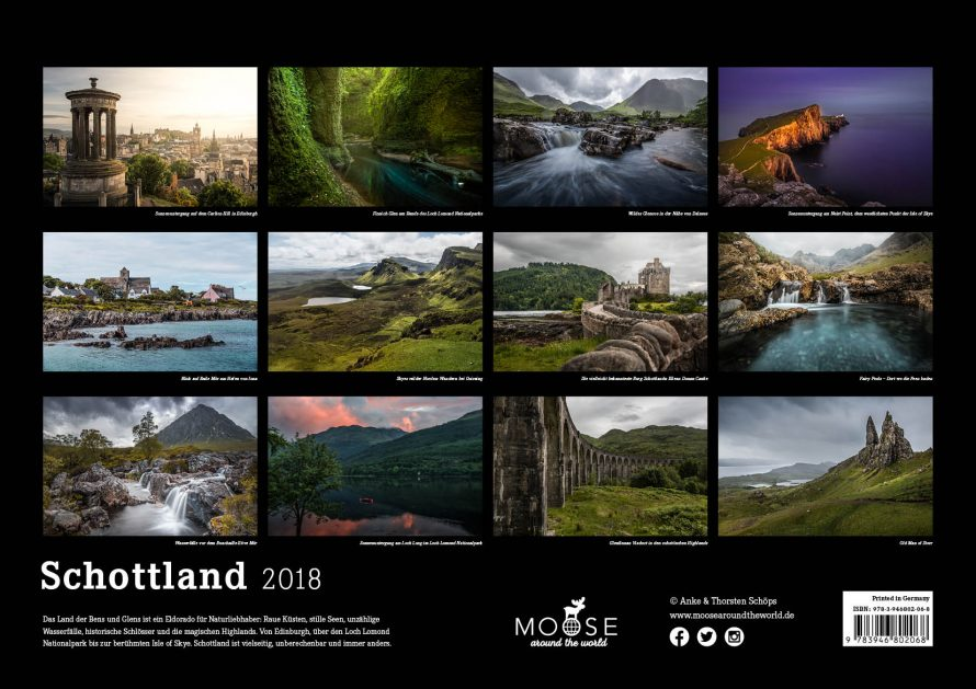 Kalender Schottland 2018 Isle of Skye Edinburgh Backcover